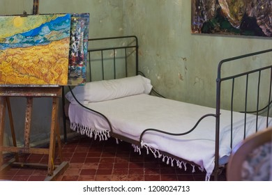 St Remy de Provence, France - February 12, 2018. Reconstruction of Vincent Van Gogh's room in the monastery of St. Paul de Mausole.