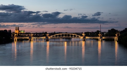 St. Roch Bridge and Warta river. Cathedral in the background