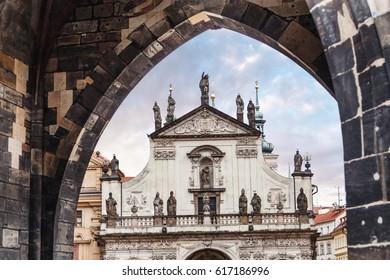 St. Salvador church, Prague from Charles bridge arch
