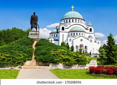 St. Sava Cathedral and Karadjordje (Serbian political leader) statue, Belgrade
