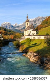 St Sebastian church at beautiful Bavarian alps on Ramsau, Berchtesgaden national park in Germany