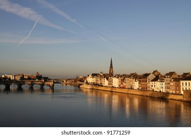 St. Servaas bridge and old city in Maastricht, Holland