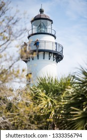St. Simon Island,Georgia,USA - March 8,2019: Tourists climbed to the top of the lighthouse for a birds-eye view of St. Simon Island and the surrounding area.