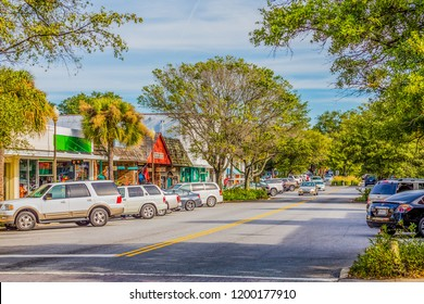 ST. SIMONS, GEORGIA - October 19, 2014: St Simons Island, Georgia is the most family friendly of all the barrier islands.