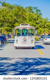 ST. SIMONS, GEORGIA - October 4, 2014: Since Old Town Trolley Tours began in the early '70s trolley tours have become a favorite of tourists in cities all over the country, including Simons Island
