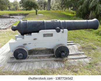 ST. SIMONS ISLAND, GEORGIA-OCTOBER 16, 2017: This cannon at Fort Frederica National Monument, the remains of a fortified town, was used in the 1700s to guard against Spaniards attacking from Florida.
