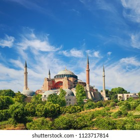 St. Sofia Mosquel , Istanbul, Turkey on a bright day, panoramic image