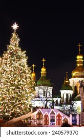 St. Sophia Cathedral, Christmas market, and main Kyiv's New Year tree on Sophia Square in Kyiv, Ukraine