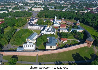 St. Sophia Cathedral in the Kremlin of Veliky Novgorod in the sunny June afternoon (aerial photography). Russia