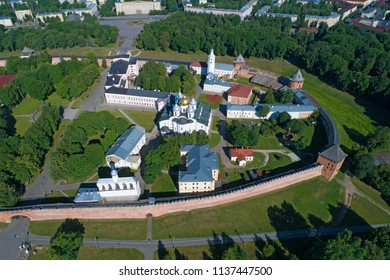 St. Sophia Cathedral in the Kremlin of Veliky Novgorod on a sunny June day. Shooting with quadrocopter. Veliky Novgorod, Russia