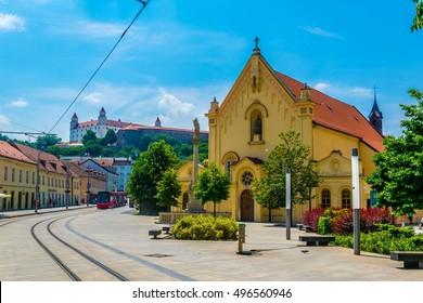 St. Stephan Capuchin church and Bratislava castle, Slovakia.