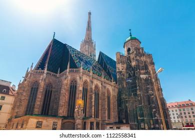 St. Stephen's Basilica roman catholic church building of Vienna in Austria, gothic style architecture, wide shot