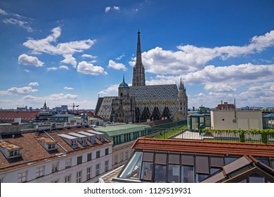 St. Stephen's Cathedral, Vienna, high angle view of famous gothic church