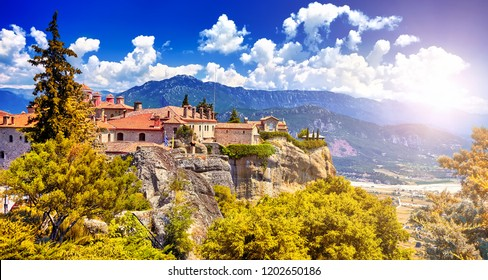 The St. Stephen's Monastery and beautiful landscapes of Meteora and blue sky, Kalambaka, Greece