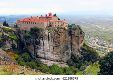 St. Stephen's Monastery  and beautiful landscapes of Meteora in autumn, Kalambaka, Greece