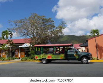 ST. THOMAS, USVI—MARCH 2017: Colorful open taxi, a public transportation in St. Thomas, US Virgin Islands.