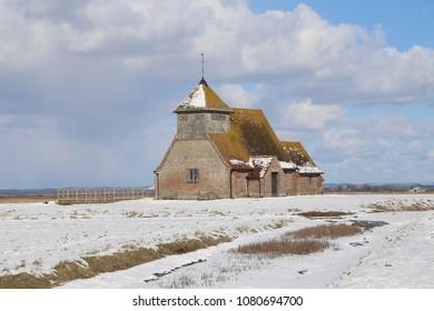 St Thomas a Becket Church, Fairfied, Romney Marsh in the snow