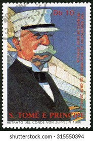 ST. THOMAS AND PRINCE ISLANDS - CIRCA 1988: A stamp printed in St. Thomas shows Ferdinand Graf Von Zeppelin (1838-1917), circa 1988