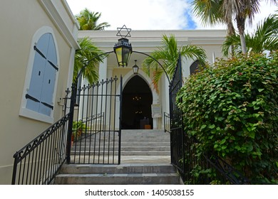 St. Thomas Synagogue aka Hebrew Congregation of St. Thomas on 2116 Crystal Gade was built in 1833 in downtown Charlotte Amalie on Saint Thomas Island, US Virgin Islands, USA.