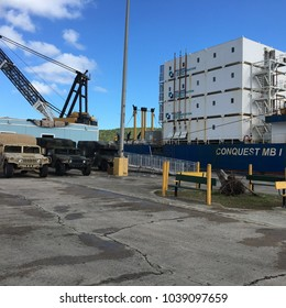 St. Thomas, U. S. Virgin Islands – November 04, 2017: Post-hurricane housing shortage: sea-going  container units house dock workers, but were first home to early disaster relief teams.