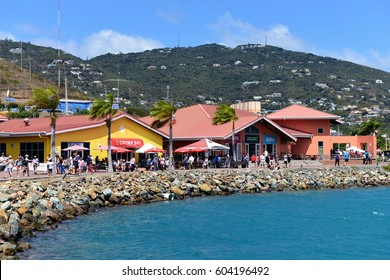 ST. THOMAS, US VIRGIN ISLANDS- MARCH 1, 2017:  The Crown Bay Center offers shopping, gaming, food and beverages and is located nearby to where cruise ships dock.