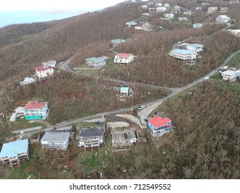 St. Thomas, U.S. Virgin Islands - September 8, 2017: The extent of the damage caused by Hurricane Irma.