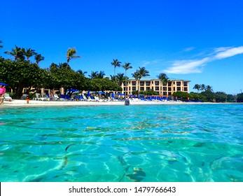 St. Thomas/USVI-11/2/16: The beautiful beach behind the The Ritz Carlton Club whichi is a Time share in St. Thomas, USVI.