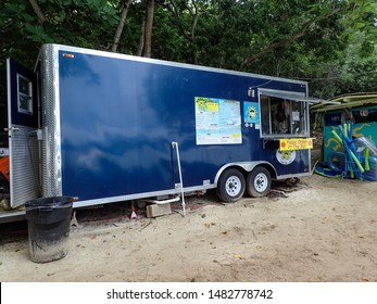 St. Thomas/USVI-11/7/16: An outdoor beach restaurant kitchen in a trailer on a Caribbean island.
