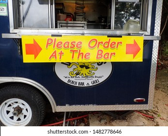 St. Thomas/USVI-11/7/16: A sign on an outdoor kitchen that tells the customers where to order.