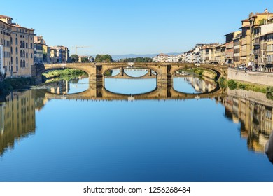 St. Trinity Bridge over river Arno at sunny day in Florence. Italy