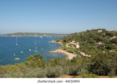 St Tropez bay and boats  from hilltop above town, French Riviera