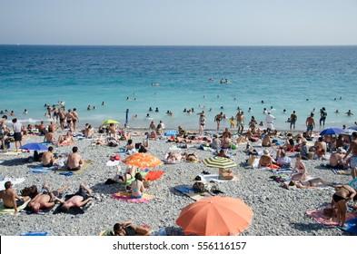 St. Tropez, France, Circa august 2013: Overcrawded St. Tropez beach in France