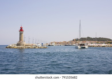 ST. TROPEZ - FRANCE. JUNE 2016. Water view on the beautiful port and city of Saint Tropez, located in the south of France.