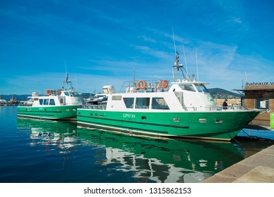 ST TROPEZ, FRANCE - OCTOBER 24, 2017: Tour boats in the harbor of St Tropez