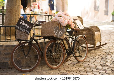 ST TROPEZ, FRANCE - OCTOBER 24, 2017: Vintage bicycles on cobblestones in the center of St. Tropez