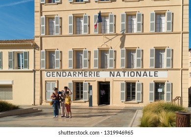 ST TROPEZ, FRANCE - OCTOBER 24, 2017: exterior of the gendarmerie and cinema museum, a tribute to the legendary gendarme films of De Funès