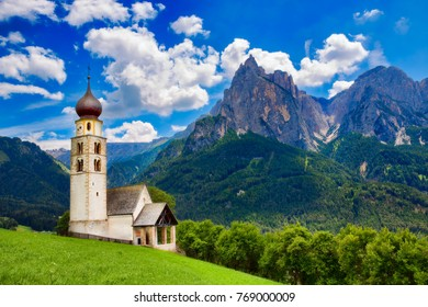 St Valentine's Church, Seis am Schlern, Italy, with the Impressive Mountain Schlern in the Background