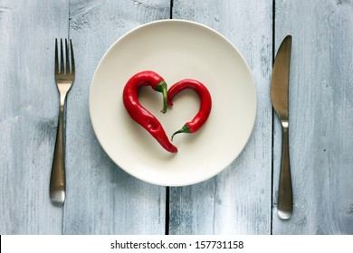 St Valentine's day greeting card with plate, knife, fork and heart