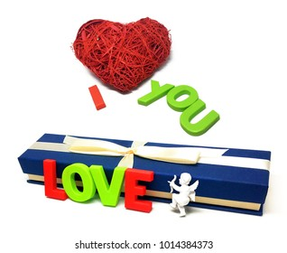 St. Valentine's Day.Red heart.Red thread.Fate.I love you.Angel.Isolated white background.