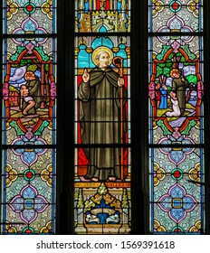 St Valery sur Somme, France - October 5, 2019: Stained Glass in the Church of St Martin in St Valery sur Somme, France, depicting Saint Valery or Saint Walaric