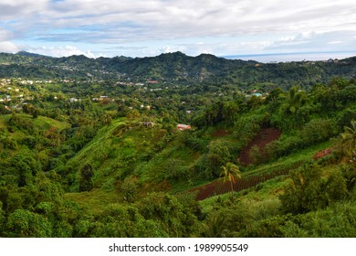 St. Vincent and the Grenadines-January 4, 2020: View of the Mesopotamia Valley from the Belmont Lookout.