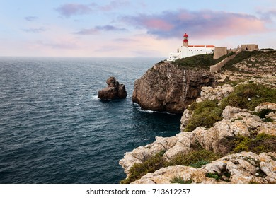 St. Vincente Lighthouse at sunset, Sagres, Portugal