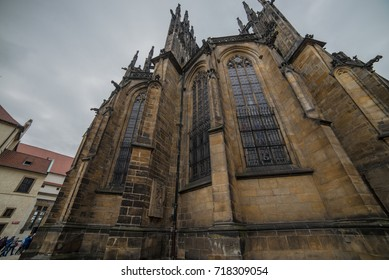 St. Vita`s Cathedral details in Prague at the night, Czech Republic