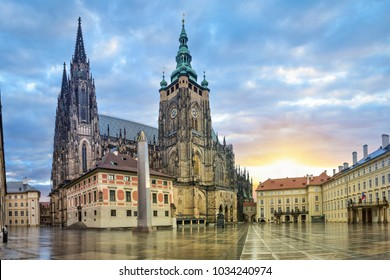 St. Vitus Cathedral in Prague Castle complex in Prague, Czech Republic