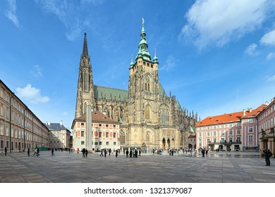 St. Vitus Cathedral in Prague, Czech Republic. Panoramic view from the courtyard to the south facade.