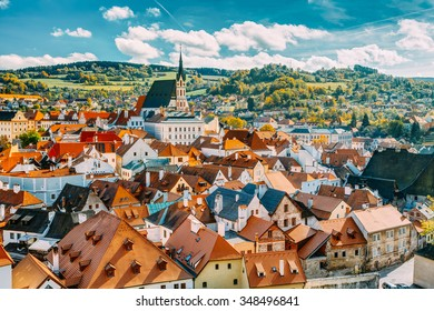 St. Vitus Church and cityscape Cesky Krumlov, Czech republic. Sunny autumn day. UNESCO World Heritage Site