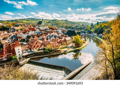 St. Vitus Church and cityscape Cesky Krumlov, Czech republic. Sunny autumn day. UNESCO World Heritage Site
