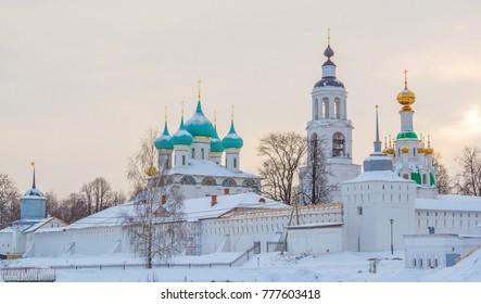 The St. Vvedensky Monastery on the winter evening in Tolga in Yaroslavl