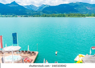 ST WOLFGANG, AUSTRIA - JULY 10 2019: Lake Wolfgang is one of the best known lakes in the Salzkammergut resort region and a popular holiday destination for many Austrians.