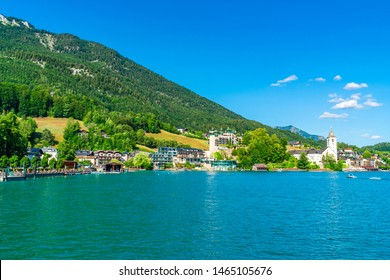 ST WOLFGANG, AUSTRIA - JULY 10 2019: St Wolfgang is a market town on the northern shore of the Wolfgangsee lake in the Salzkammergut region. It's s popular holiday destination for many Austrians